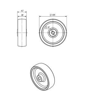 Колесо к огнетушителю ОП-50,100  диаметр 125 мм.