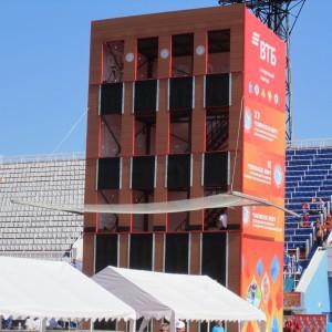 Учебно-тренировочная стационарная башня спортивная на 4- дорожки  (НЕ разборная)